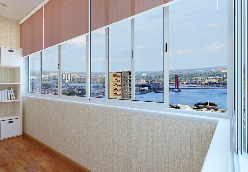 Раздвижное алюминиевое остекление балкона